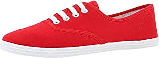 Canvas Flat Sneakers for Women,ONLYTOP Women Summer Sneakers Low Top Lace Up Lightweight Casual Slip on Shoes