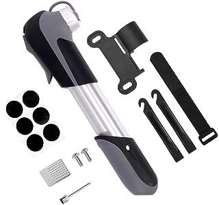 WOTOW - Mini bomba de aire portátil para bicicleta con kit de reparación de neumáticos Presta & Schrader con inflador de bicicleta de pinchazos sin pegamento de 120 PSI sin cambio de válvula para bicicletas de montaña y BMX