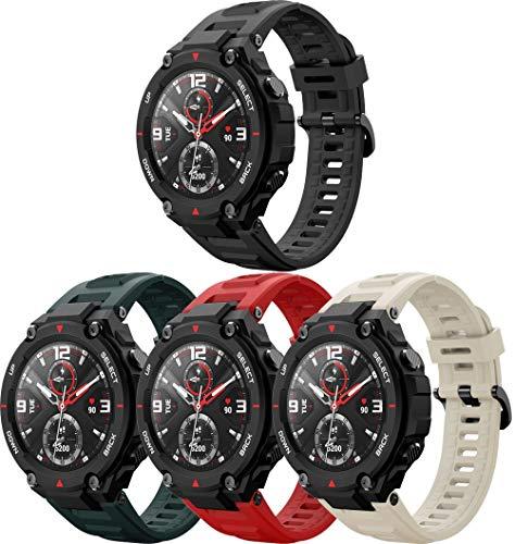Correa de Reloj de Silicona Suave Compatible con Amazfit T-Rex, Repuesto Ideal (4PCS F)