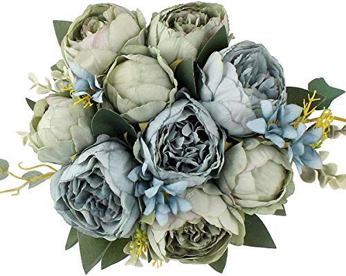 Jim`s Cabin Artificial Flowers Fake Silk Peony Flower Bouquet Floral Plants Decor for Home Garden Wedding Party Decor Decoration (Blue Green)