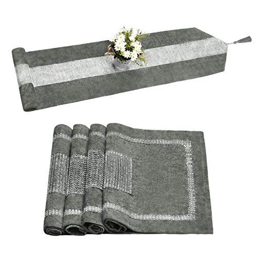 Bateruni 5 Pack Grey Table Runner and Placemats Set, 1pc Classic Table Runner with Tassels Rhinestones Diamond 70x14 Inches, 4pcs Placemats 18x12 Inches for Home Party Dining Table Banquet