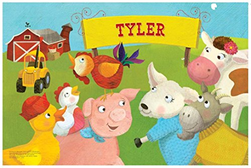 Kids Placemat Personalized with Child s Name  Custom Dining Table Mat  Unique Gift for Boys and Girls  Baby Farm Animals