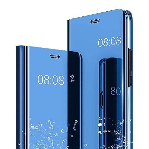 Yagook Spiegel Hülle Kompatibel mit Samsung Galaxy A21S Clear View Flip Schutzhülle Überzug PU Leder Tasche Frau Handyhülle Ultra Dünn Stoßfest Standing Bookstyle Case Slim Fit Cover Blau