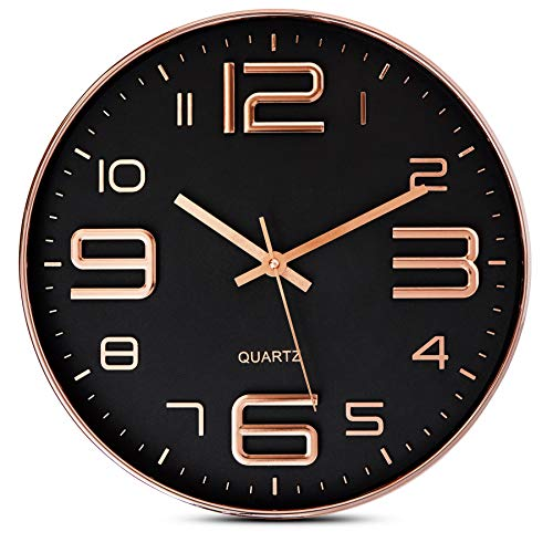 Bernhard Products Black Wall Clock - 12 Inch Rose Gold Silent Non Ticking Quality Quartz Battery Operated Easy to Read Decorative Modern Design for Home/Office/Kitchen/Bedroom/Living Room