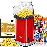 Popcornmaschine 1400W, Aicook Automatische Popcorn Maker Machine für Zuhause, Weit-Kaliber-Design inkl. Messlöffel, Heissluft Ohne Fett Fettfrei Ölfrei, BPA-Freie Popcorn Popper, Klassisch