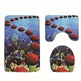 liuhoue Badezimmer-Anti-rutsch-Teppich Welle drucken Wc-Matte 3 sätze-F 45x75cm(18x30inch)