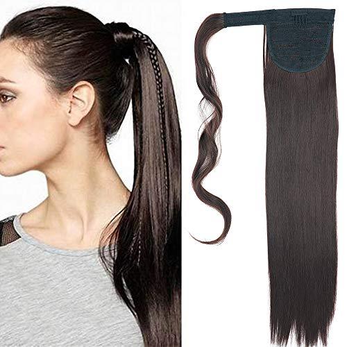 Cybelleza Clip in Pferdeschwanz Extensions Haarverlängerung Haarteil wie Echthaar Zopf günstig Ponytail Glatt Haarverdichtung (Mittel braun)