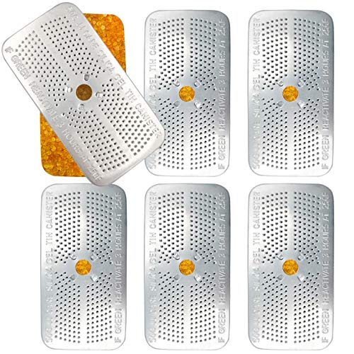 [Pack of 6] Silica Gel Dehumidifier, 50g Reusable Desiccant Canisters, Indicating Orange Silica Gel Canister, Gun Vault Dehumidifier, Gun Safe Moisture Absorber, Bedroom, Car, Ammo Storage, Non Toxic