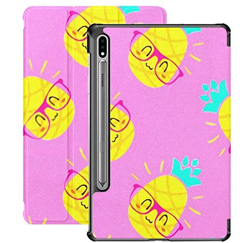 Funda Galaxy Tablet S7 Plus de 12,4 Pulgadas 2020 con Soporte para bolígrafo S, Gafas de piña de Dibujos Animados vectoriales, Funda Protectora de Folio con Soporte Delgado en Colores Pastel para Sam
