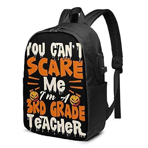 Lawenp You Can't Scare Me I'm A 3rd Grade Teacher Fashion Printed USB Backpack 17 Inch Shoulder Bag Laptop Bag Fashion Rucksack Black