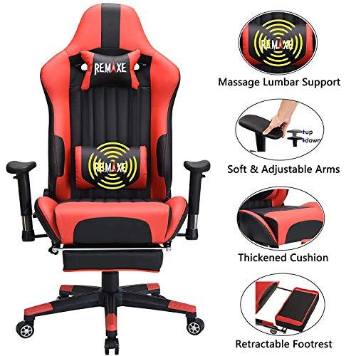 Silla ergonomica para juegos de PC, de cuero con respaldo alto. Silla de oficina para oficina, con extension, cojin para apoyar y reposapies retractil, silla para PC con soporte de masaje