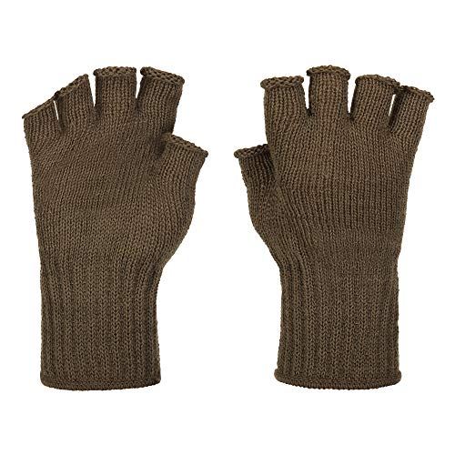 Fingerless Wool Glove Military GI Govt Issue (Brown)
