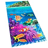Softerry Tropical Island Beach Towel 30 x 60 inch 100% Cotton Coral Reef and Fishes