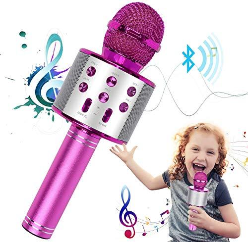 Karaoke Mikrofon, 3-in-1 Bluetooth Mikrofon Karaoke Tragbarer Mikrofon mit Lautsprecher Aufnahme Radio für Erwachsene und Kinder, Kompatibel mit Android IOS PC (Rosé)