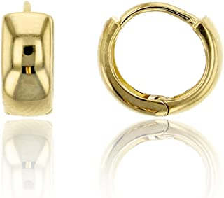 14K Yellow Solid Gold High Polished Huggie Earring | Huggie Earrings | Cute Earring | 2mm/4.40mm Thick | Solid Gold Earrings for Women, Teens and Kids