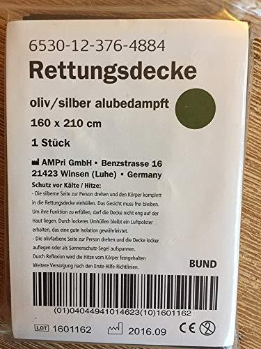 SCHWEEN24 - 25x Rettungsdecke Notfalldecke Rettungsfolie 210x160 cm Oliv Silber