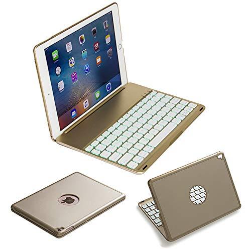Strnry toetsenbordetui voor iPad Air10.5/Pro10.5 met 7 kleuren van achteren verlichte 135 graden instelbare hoek aluminiumlegering behuizing ABS chocoladeknop draadloos toetsenbord
