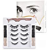 Magnetic Eyelashes with Eyeliner, Upgraded 3D Reusable Magnetic Eyelashes Kit Silk False Lashes Natural Look Come with Applicator, Eyelash Extensions No Glue Needed (5 Pairs)