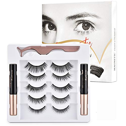 Magnetische Wimpern, MS.DEAR 5 Paar Künstliche Wimpern Natürlich Wasserdicht Falsche Wimpern Kit, 3D Falsche Eyelashes Wiederverwendbar mit Magnetischer Eyeliner und Pinzette