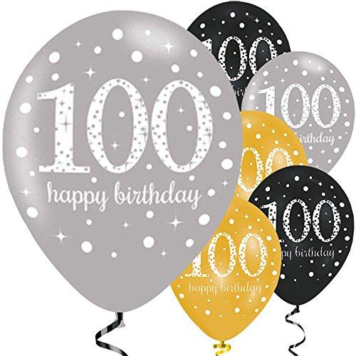 Feste Feiern Luftballon Deko 100. Geburtstag | 6 Teile Zahlenballon Ballon Gold Schwarz Silber metallic Helium Party Set Happy Birthday 100 Jubiläum