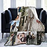 UKSN Custom Collage Blanket Personalized Blanket with Photo Picture, Soft Flannel Blanket for Lover, Wedding, Valentine's Day Gift, 8 Photos Collage 50'x40'