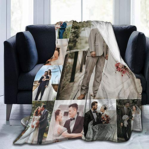 UKSN Custom Collage Blanket Personalized Blanket with Photo Picture, Soft Flannel Blanket for Lover, Wedding, Valentine's Day Gift, 8 Photos Collage 60'x50'