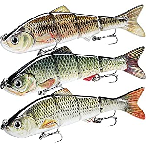 """TRUSCEND Fishing Lures for Bass Trout 4.7~7"""" Multi Jointed Swimbaits Slow Sinking Bionic Swimming Lures Bass Freshwater Saltwater Bass Fishing Lures Kit Lifelike (Combination C-2)"""