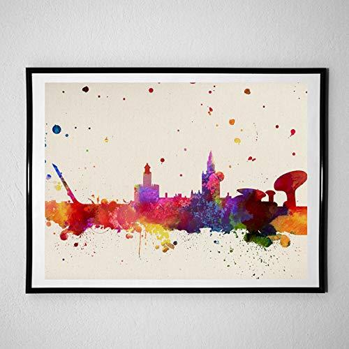 Nacnic Lámina Ciudad de Sevilla. Skyline Estilo Acuarela y explosión de Color. Poster tamaño A3 Impreso en Papel 250 Gramos y tintas Decoración del hogar. Diseño al Mejor Precio. con Marco Negro A3