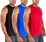 DEVOPS Men's 3 Pack Cool Dry Fit Muscle Sleeveless Gym Training Performance Workout Tank Top (Small, Black/Blue/Red)