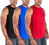 DEVOPS 3 Pack Men's Muscle Shirts Sleeveless Dri Fit Gym Workout Tank Top (Medium, Black/Blue/Red)