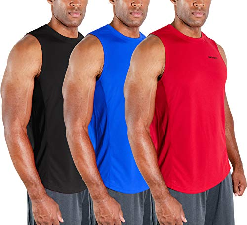 DEVOPS Men's 3 Pack Cool Dry Fit Muscle Sleeveless Gym Training Performance Workout Tank Top (Large, Black/Blue/Red)