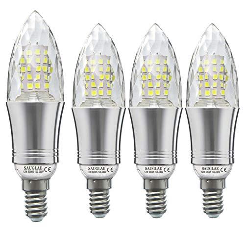 Sauglae Lampadine a Candela LED 12W, Lampadine a Incandescenza da 100W Equivalenti, 6000K Bianco Freddo, 1200Lm, E14 Piccola Vite Edison, 4-Pacco