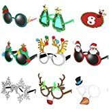 Ocean Line Novelty Christmas Glasses - 8 Pack Creative Funny Eyewear, Happy New Year Celebration, Holiday Sunglasses Party Supplies Decoration for Kids and Adults