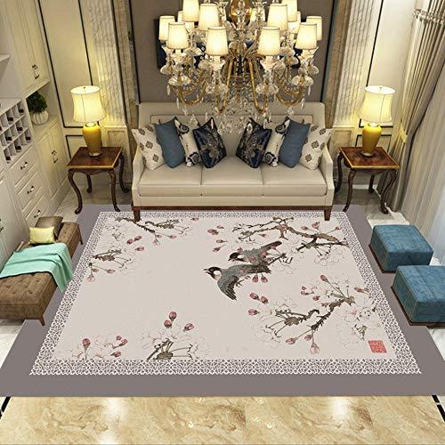 Vlejoy Tappeto Moderno per la casa Designer Soggiorno Ufficio Tinta Unita Modello Uccello Nordico Creativo Resistente Facile da prendersi Cura di-100x150 cm