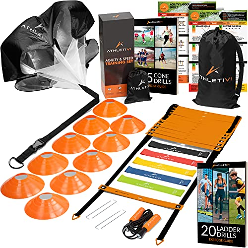 Athletivi Speed & Agility Training Set - Ladder Kit with Fixed-Rungs, Cones, and Resistance Parachute Improves Coordination and Speed. Set for Football, Soccer, Fitness Workout Athletes.