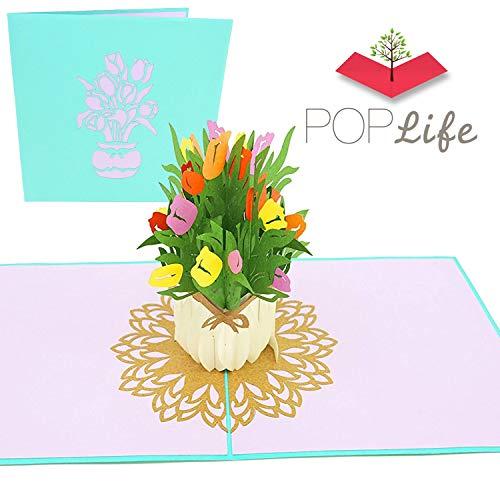 PopLife Frühlingstulpenstrauß Pop Up Valentinstagskarte - 3D Glückliches Jubiläumsgeschenk, Ostern PopUp Muttertagskarte, Glücklicher Geburtstag - Flach gefaltet für Mailing - für Mama, Tochter, Frau