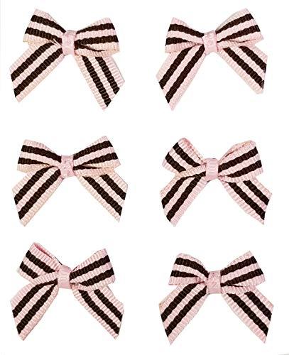 "Q-YO Embellishments for Crafts, 20pc Grosgrain Ribbon Bows for DIY Small Hair Ties,Hair Clips, Christmas Cards, Scrapbooks, 1""-1.25"" DIY Grosgrain Ribbon Mini Bow-Classic Pink Brown"