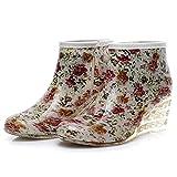 HLDJ Botas De Lluvia Impermeable para Mujer Y Zapatos De Jardín Leopardo Impreso Ligero Lindo Pendiente Tacón De Talón Tallo out Trabajo Tobillo Cómodo Bota,A,EU36