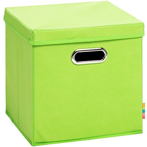 (H&S) Aufbewahrungsbox MIA mit Deckel - Faltbox - Korb - 28x28x28 cm - (Apfelgrün)