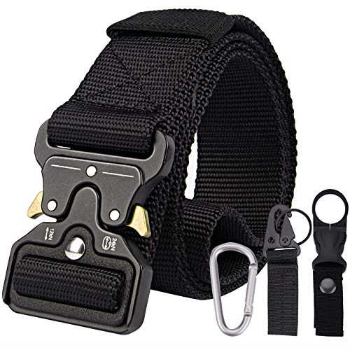 Petrunup Cinturón Militar de 1.5 Pulgadas Cinturón de Correas de Nylon Estilo Táctico Mental Cobra Hebilla de Liberación Rápida con Tres Regalos para Hombres Mujeres