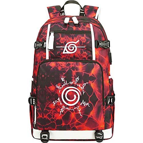 GOYING Uzumaki Naruto/Uchiha Sasuke/Akatsuki Anime Laptop Backpack Bag Travel Laptop Daypacks Lightweight Bag with USB-B