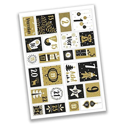 Papierdrachen 24 Adventskalender Zahlenaufkleber - Briefmarke Gold Nr 52 - Sticker - zum Basteln und Dekorieren