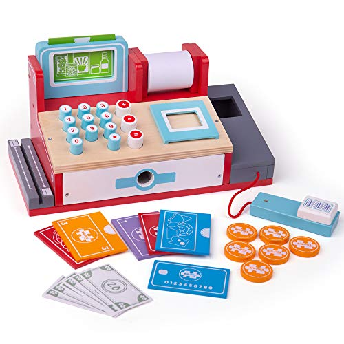 Bigjigs Rail Wooden Toy Cash Register with Scanner - Pretend Role Play Shop