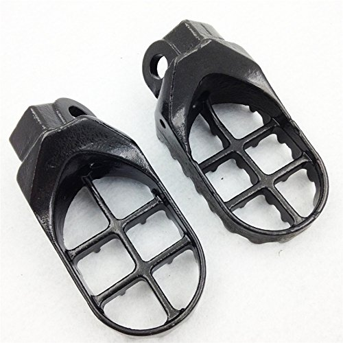 HTTMT - For Suzuki RM125 250 RMX250 DR-Z Kawasaki KLX400R KX500 Motorcycle Gunmetal Foot Pegs Black [P/N: MT216-021-GRAY]