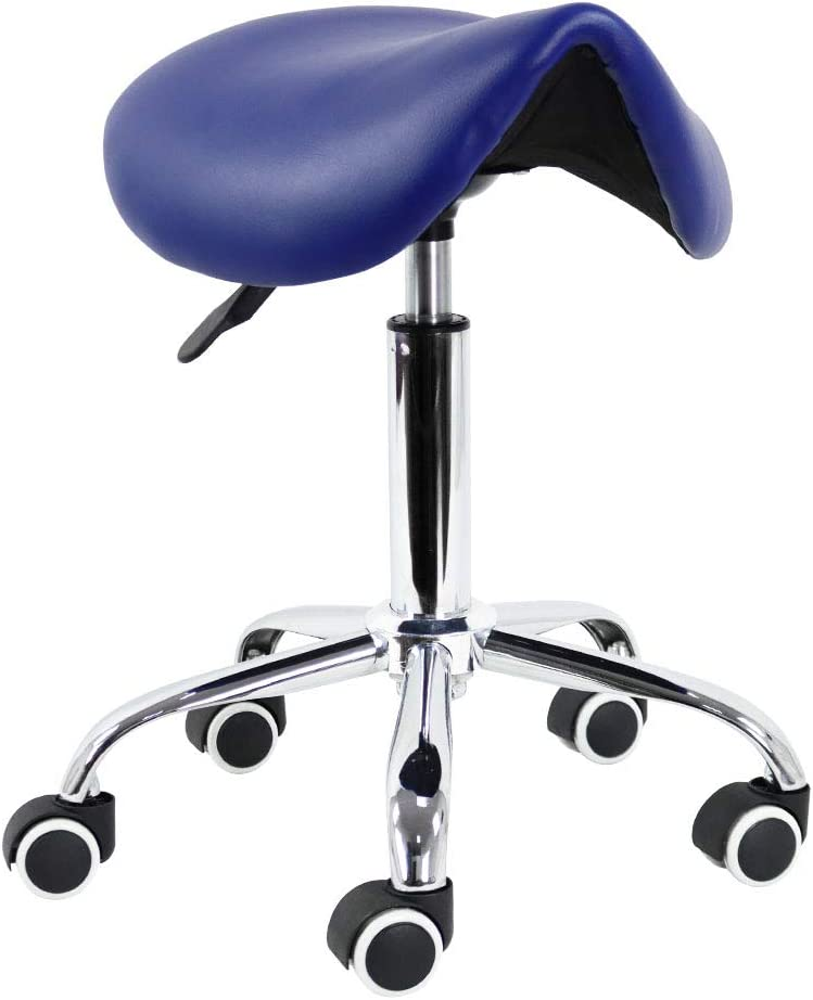 Rolling Stool Saddlle Leather New Free Shipping Wheel W Height Rotating New product Adjustable