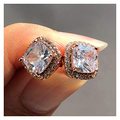 JINGGEGE Luxury Female Crystal Zircon Stone Earrings Fashion Silver Color Jewelry Double Stud Earrings For Women (Metal Color : Rose White)