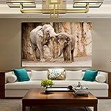 KWzEQ Decoración del hogar Mural póster e impresión en Lienzo Arte Pintura al óleo Animal Elefante,Pintura sin Marco,30x45cm