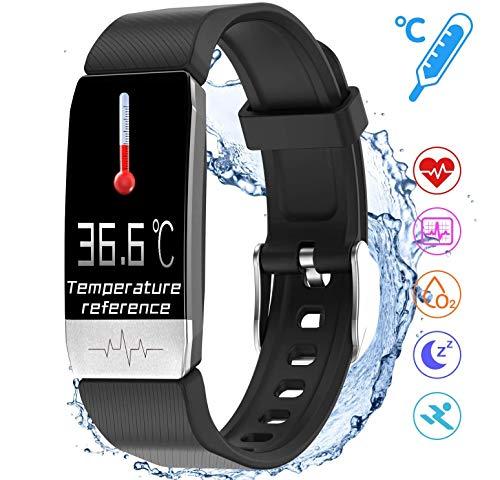 Fitnessarmband met temperatuurmeting, smartwatch, fitnesstracker met bloeddrukmeting, waterdicht conform IP68, voor dames en heren, oproepen, sms-notificaties