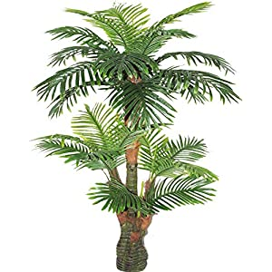 Silk Flower Arrangements AMERIQUE Gorgeous & Unique 5 Feet Tropical Palm Artificial Plant Silk Tree, Real Touch Technology, with UV Protection, Super Quality, 5', Green