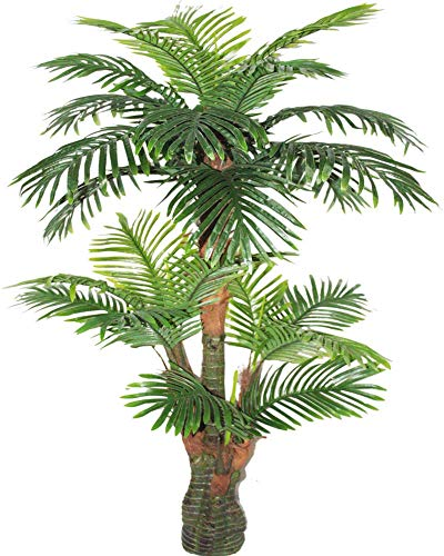 AMERIQUE 691322305203 Gorgeous Tropical Palm Tree Artificial Silk Plant with UV Protection, with Nursery Plastic Pot, Feel Real Technology, Super Quality, 5.3', Green